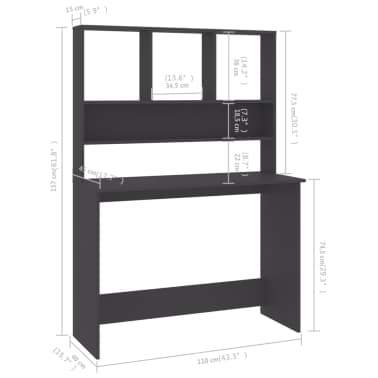 "vidaXL Desk with Shelves Gray 43.3""x17.7""x61.8"" Chipboard[6/6]"