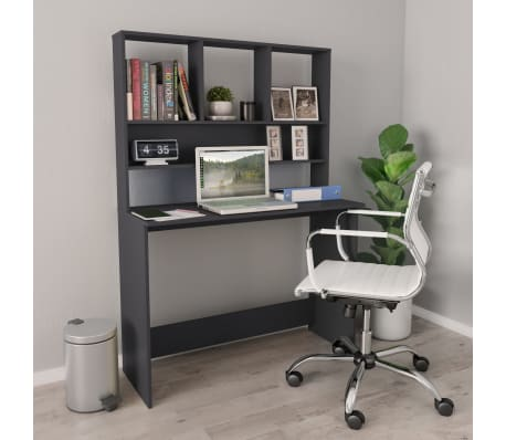 "vidaXL Desk with Shelves Gray 43.3""x17.7""x61.8"" Chipboard[1/6]"