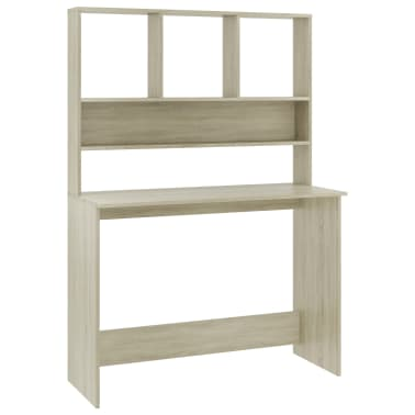 vidaXL Desk with Shelves Sonoma Oak 110x45x157 cm Chipboard[2/6]