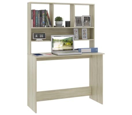 """vidaXL Desk with Shelves Sonoma Oak 43.3""""x17.7""""x61.8"""" Chipboard[3/6]"""