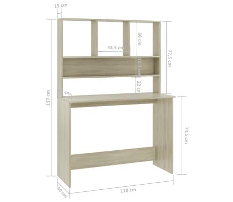 vidaXL Desk with Shelves Sonoma Oak 110x45x157 cm Chipboard[6/6]