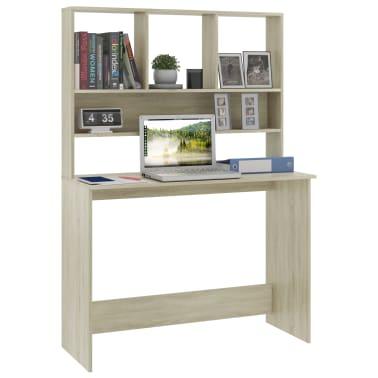 vidaXL Desk with Shelves Sonoma Oak 110x45x157 cm Chipboard[3/6]