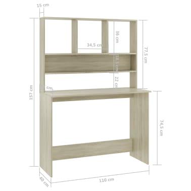 """vidaXL Desk with Shelves Sonoma Oak 43.3""""x17.7""""x61.8"""" Chipboard[6/6]"""