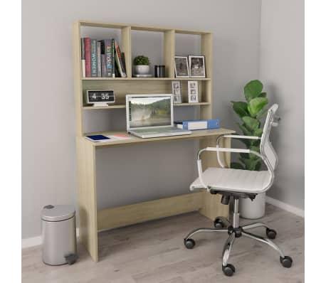 """vidaXL Desk with Shelves Sonoma Oak 43.3""""x17.7""""x61.8"""" Chipboard[1/6]"""