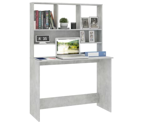 vidaXL Desk with Shelves Concrete Grey 110x45x157 cm Chipboard[3/6]