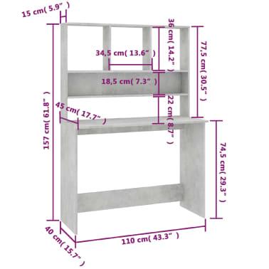 vidaXL Desk with Shelves Concrete Grey 110x45x157 cm Chipboard[6/6]