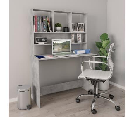 vidaXL Desk with Shelves Concrete Grey 110x45x157 cm Chipboard[1/6]