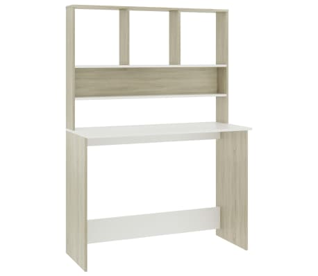 "vidaXL Desk with Shelves White and Sonoma Oak 43.3""x17.7""x61.8"" Chipboard[2/6]"