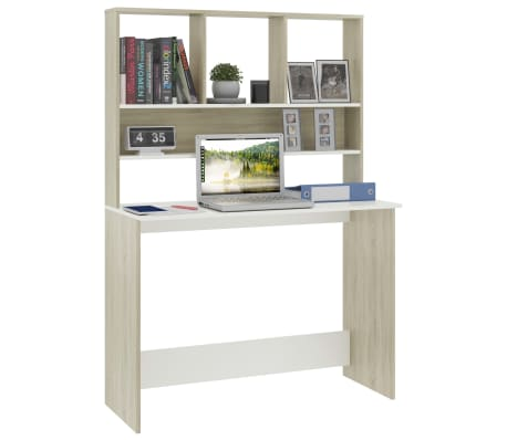 "vidaXL Desk with Shelves White and Sonoma Oak 43.3""x17.7""x61.8"" Chipboard[3/6]"