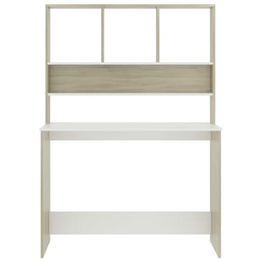 "vidaXL Desk with Shelves White and Sonoma Oak 43.3""x17.7""x61.8"" Chipboard[4/6]"