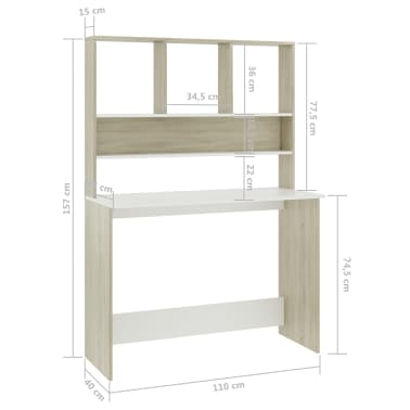 "vidaXL Desk with Shelves White and Sonoma Oak 43.3""x17.7""x61.8"" Chipboard[6/6]"