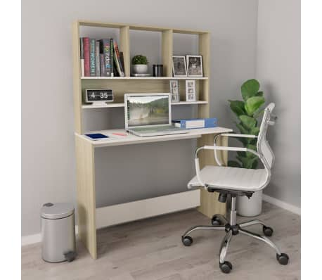 "vidaXL Desk with Shelves White and Sonoma Oak 43.3""x17.7""x61.8"" Chipboard[1/6]"