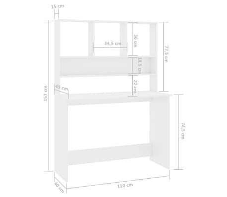 vidaXL Desk with Shelves High Gloss White 110x45x157 cm Chipboard[6/6]