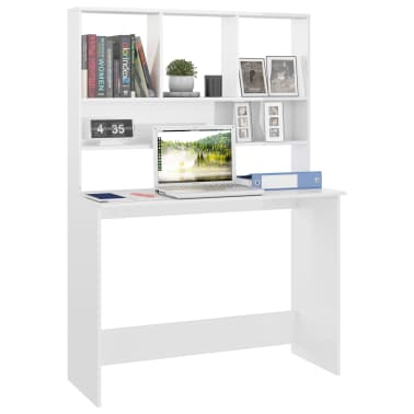 vidaXL Desk with Shelves High Gloss White 110x45x157 cm Chipboard[3/6]