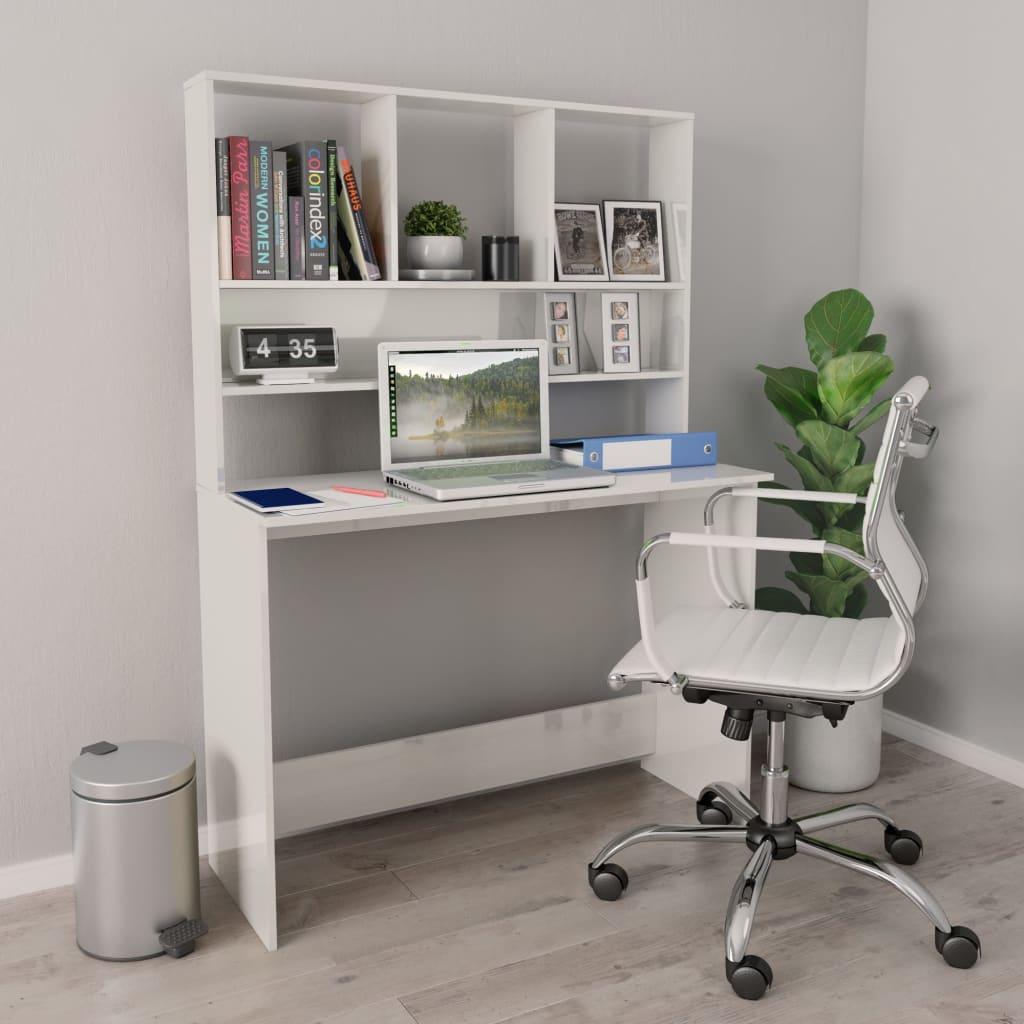 vidaXL Birou cu rafturi, alb foarte lucios, 110 x 45 x 157 cm, PAL poza 2021 vidaXL