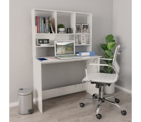 vidaXL Desk with Shelves High Gloss White 110x45x157 cm Chipboard[1/6]