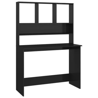 vidaXL Desk with Shelves High Gloss Black 110x45x157 cm Chipboard[2/6]