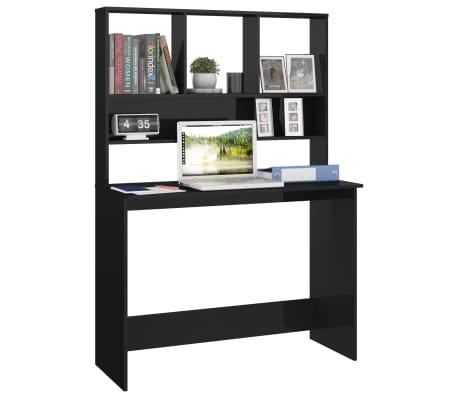 vidaXL Desk with Shelves High Gloss Black 110x45x157 cm Chipboard[3/6]