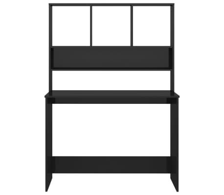 vidaXL Desk with Shelves High Gloss Black 110x45x157 cm Chipboard[4/6]