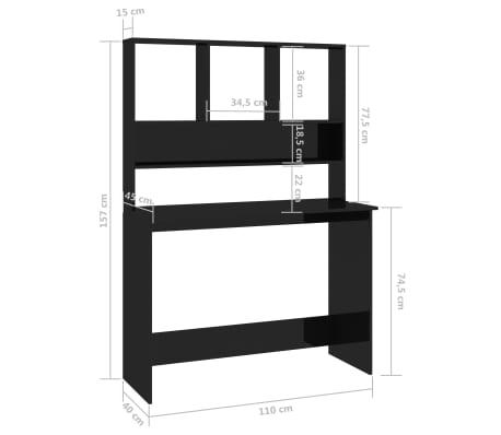 vidaXL Desk with Shelves High Gloss Black 110x45x157 cm Chipboard[6/6]