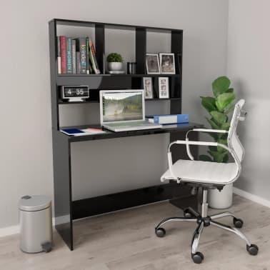 vidaXL Desk with Shelves High Gloss Black 110x45x157 cm Chipboard[1/6]