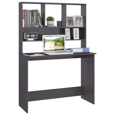 vidaXL Desk with Shelves High Gloss Grey 110x45x157 cm Chipboard[3/6]