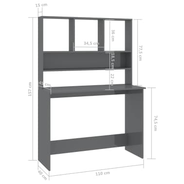 vidaXL Desk with Shelves High Gloss Grey 110x45x157 cm Chipboard[6/6]