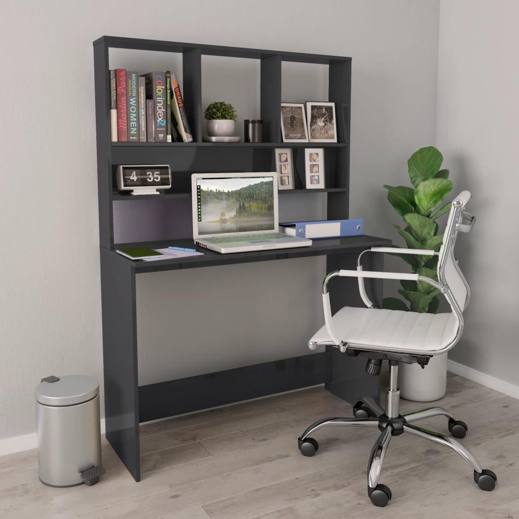 vidaXL Bureau met schappen 110x45x157 cm spaanplaat hoogglans grijs