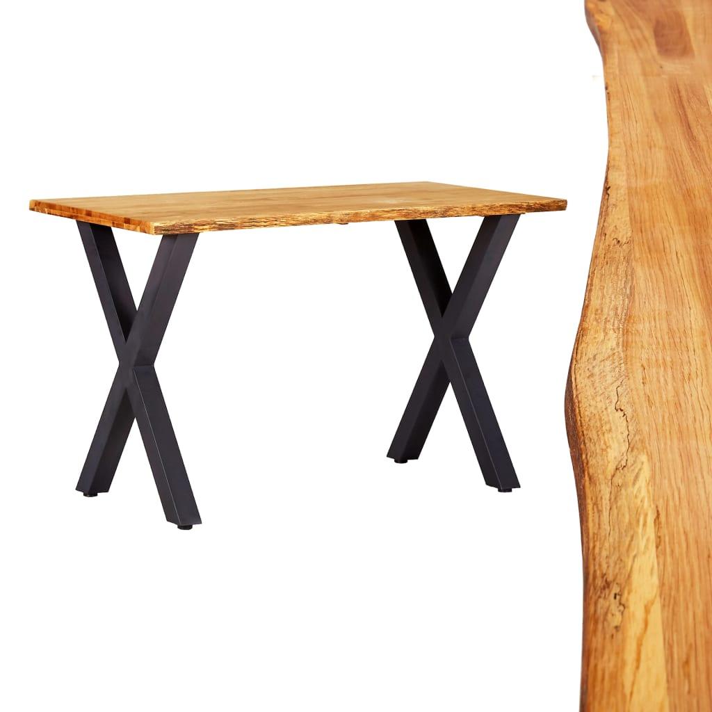 vidaXL Masă de bucătărie, natural, 120x65x75 cm, lemn masiv de stejar poza vidaxl.ro