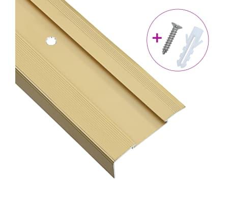 vidaXL L-formade halkskydd för trapp 15 st aluminium 134 cm guld