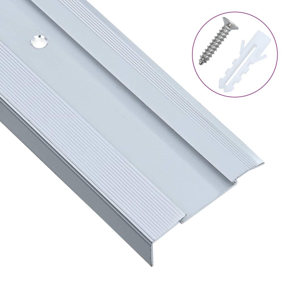 vidaXL Profile trepte formă de L, 15 buc., argintiu, 100 cm, aluminiu vidaxl.ro