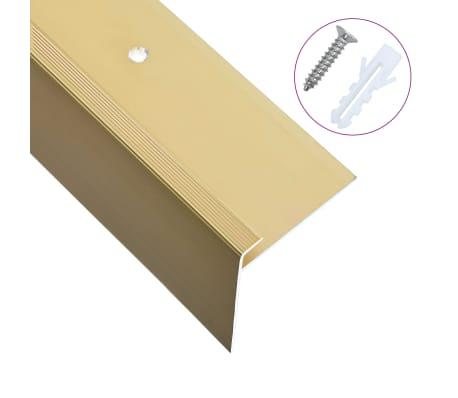 vidaXL Cantoneras de escalera forma de F 15 uds aluminio dorado 100 cm
