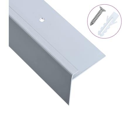 vidaXL F-formade halkskydd för trapp 15 st aluminium 90 cm silver