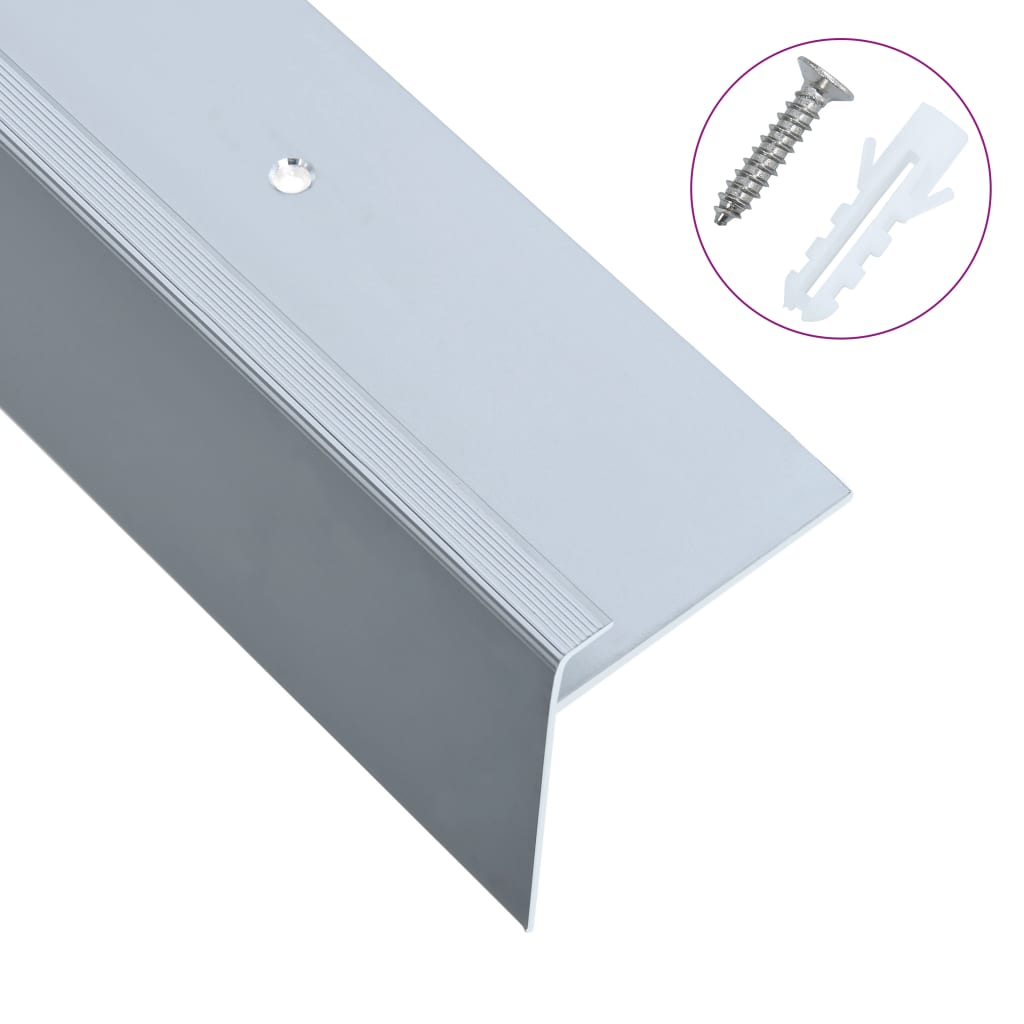 vidaXL Profile trepte formă de F, 15 buc., argintiu, 100 cm, aluminiu vidaxl.ro