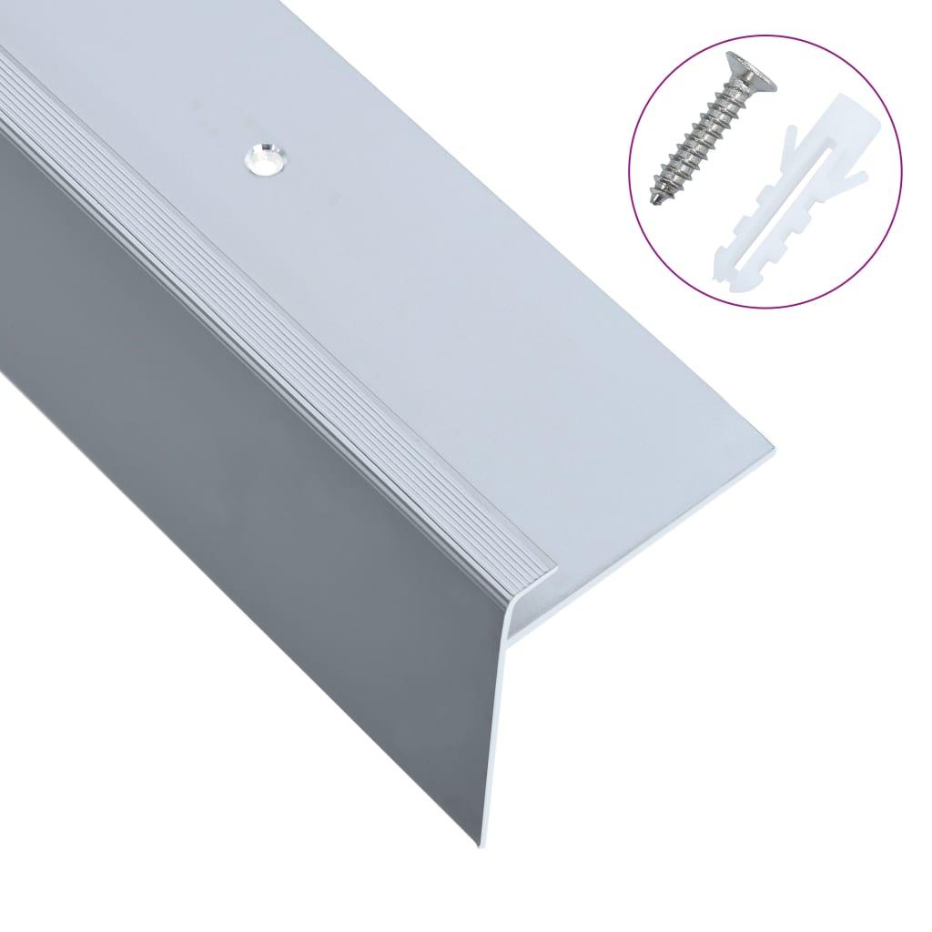 vidaXL Profile trepte formă de F, 15 buc., argintiu, 134 cm, aluminiu vidaxl.ro