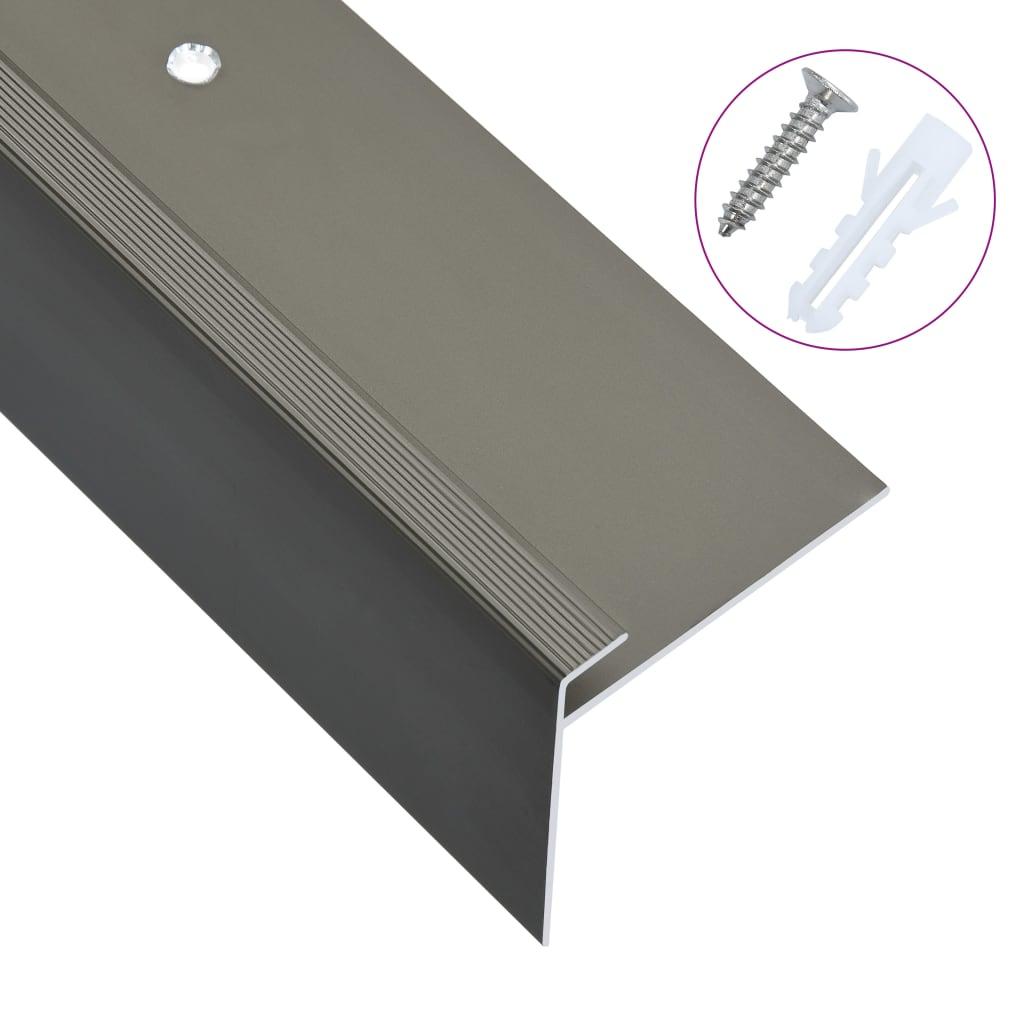 vidaXL Profile trepte în formă de F, 15 buc., maro, 90 cm, aluminiu vidaxl.ro