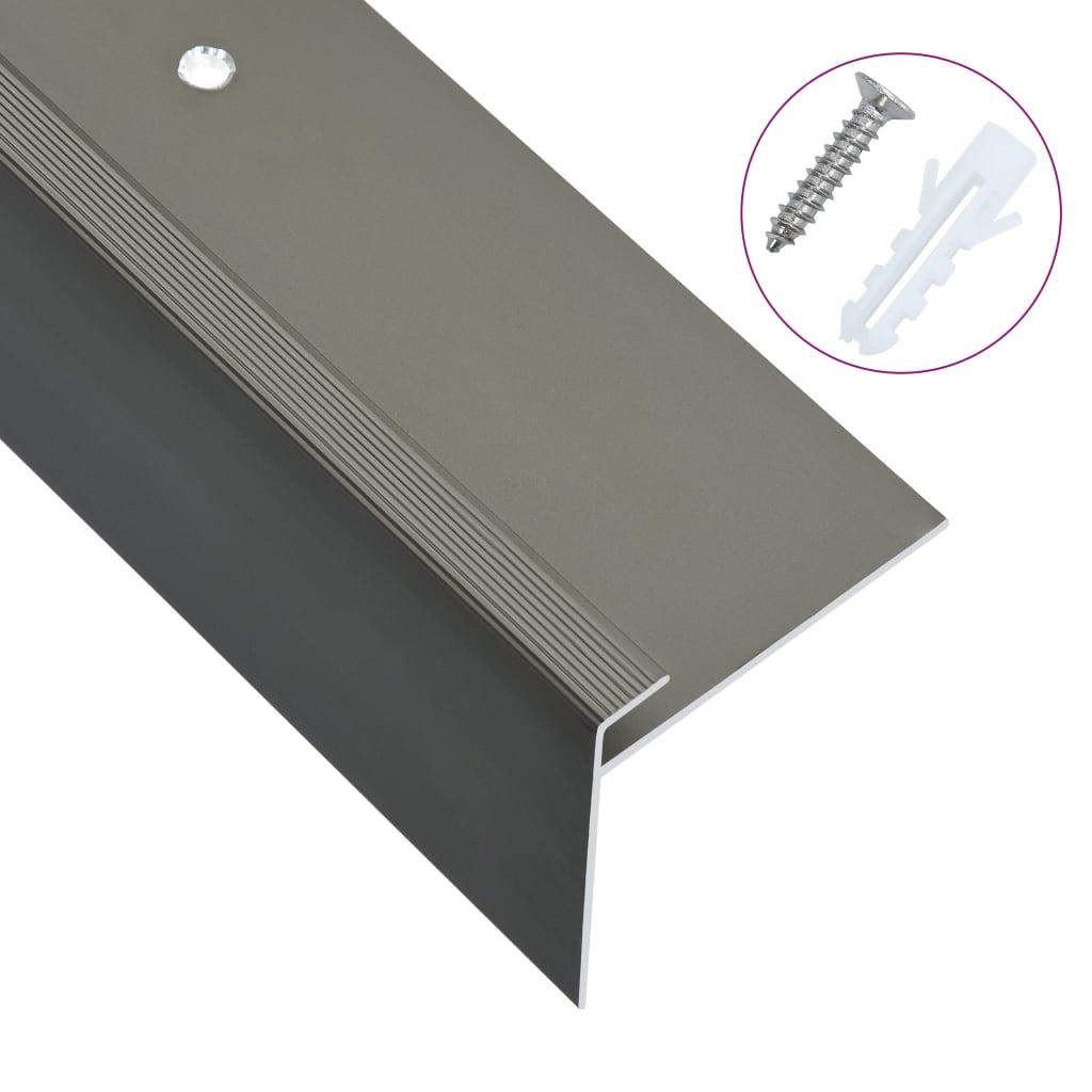 vidaXL Profile trepte în formă de F, 15 buc., maro, 100 cm, aluminiu vidaxl.ro