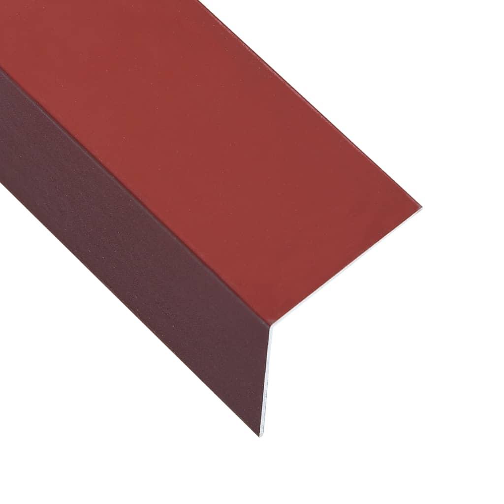 vidaXL Úhlové lišty ve tvaru L 90° 5 ks hliník červené 170 cm 50x50 mm