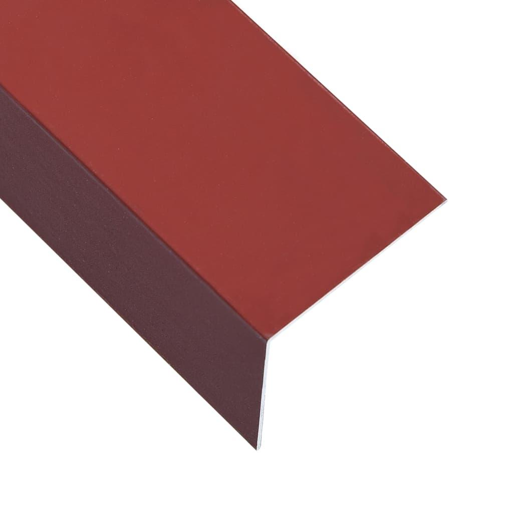 vidaXL Úhlové lišty ve tvaru L 90° 5 ks hliník červené 170 cm 100x50 mm
