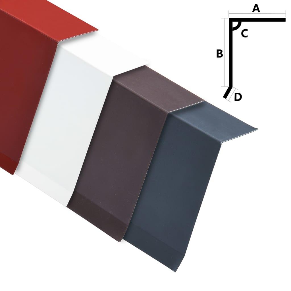 vidaXL Plăci bordură acoperiș în L, 5 buc., roșu, 170 cm, aluminiu imagine vidaxl.ro