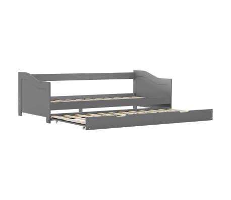 vidaXL Bedbankframe uittrekbaar grenenhout grijs 90x200 cm