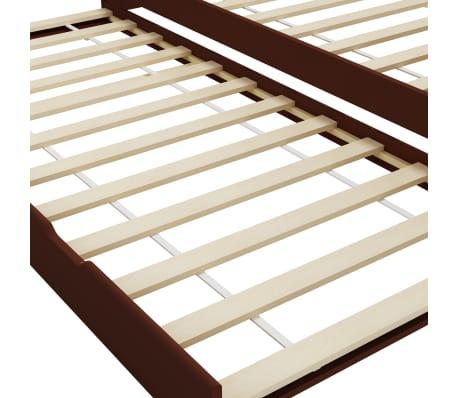 vidaXL Bedbankframe uittrekbaar grenenhout donkerbruin 90x200 cm[5/8]