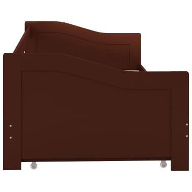 vidaXL Bedbankframe uittrekbaar grenenhout donkerbruin 90x200 cm[6/8]