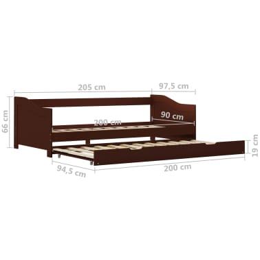 vidaXL Bedbankframe uittrekbaar grenenhout donkerbruin 90x200 cm[8/8]