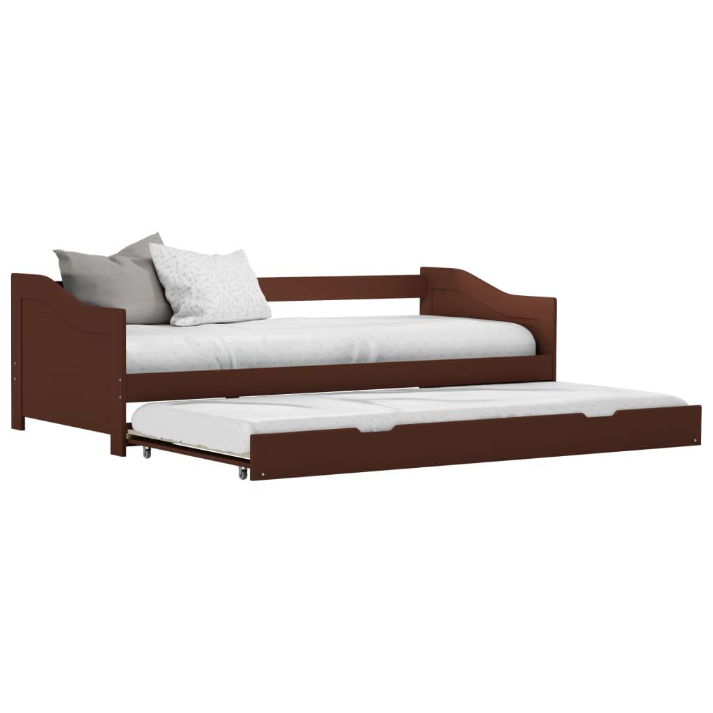 vidaXL Wysuwane łóżko, ciemny brąz, drewno sosnowe, 90x200 cm