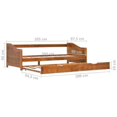 vidaXL Bedbankframe uittrekbaar grenenhout honingbruin 90x200 cm[8/8]