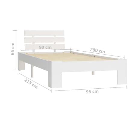 vidaXL Cadre de lit Blanc Bois de pin massif 90 x 200 cm[7/7]