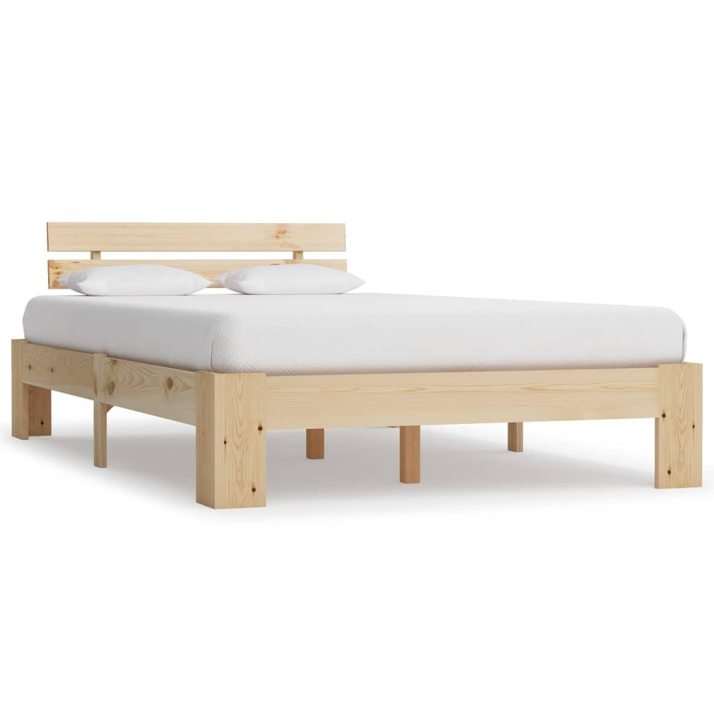 vidaXL Cadru de pat, 140 x 200 cm, lemn masiv de pin poza 2021 vidaXL