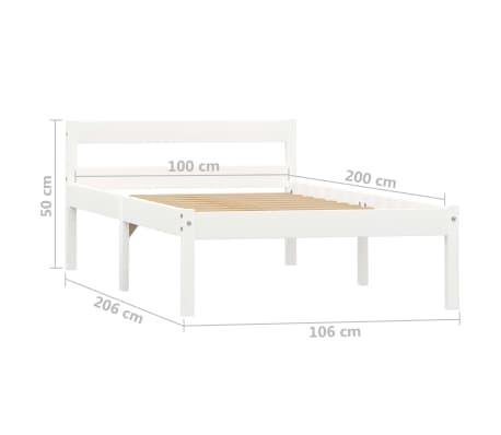 vidaXL Lovos rėmas, baltos sp., 100x200 cm, pušies medienos masyvas[7/7]