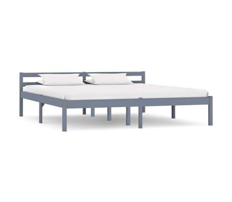 vidaXL Bed Frame Grey Solid Pine Wood 180x200 cm 6FT Super King